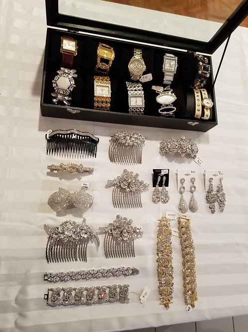 Assorted watches/Crystal hair combs, etc... (New) LOT 6