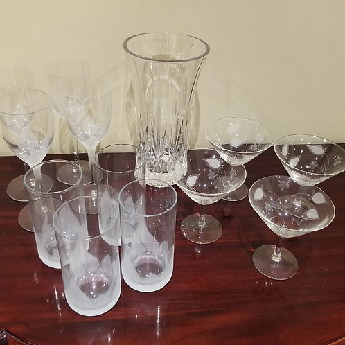 Lot 127 Crystal vase and glasses