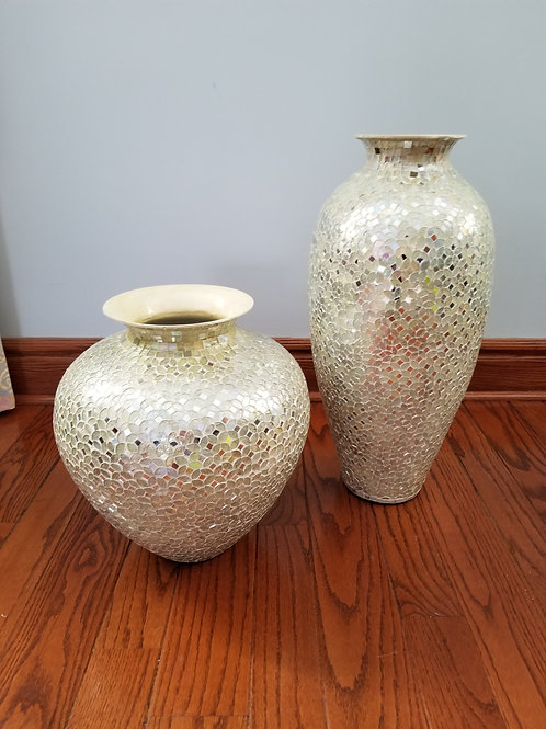 Pair of Huge Silver Mirrored Vases