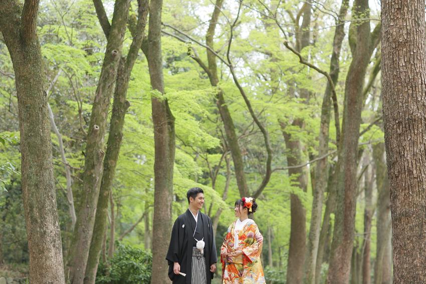 沖縄 宮古島 京都 フォトウエディング 和装の結婚写真 下鴨神社
