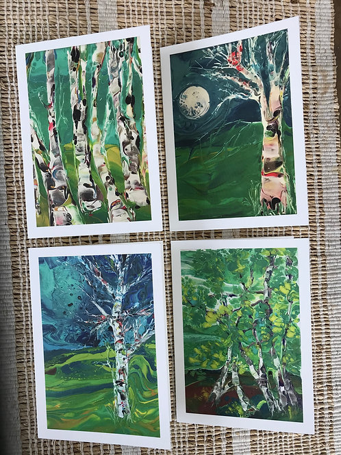 SET OF CARDS - BIRCH TREES