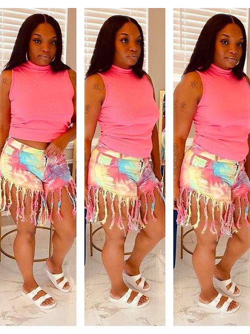 Fringe Me Shorts Rainbow