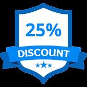 25% de réduction Bleu