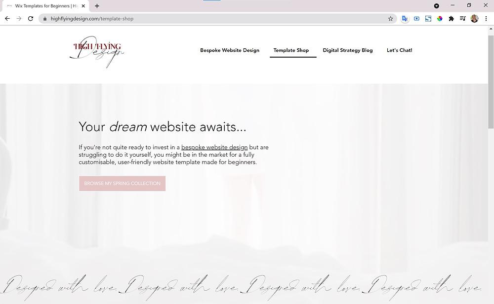 Wix Website Template Shop