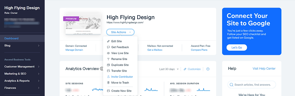 Wix Tutorial | Invite Collaborator | High Flying Design