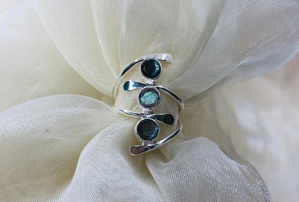 Three Stone Labradorite Ring