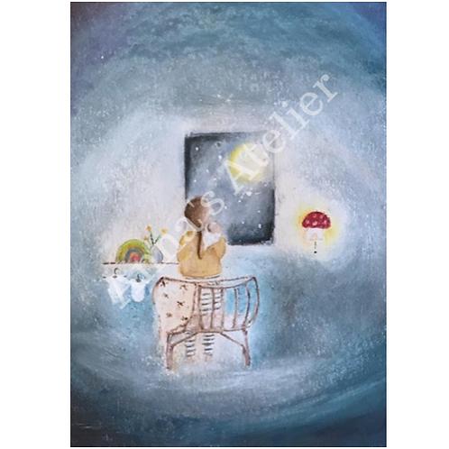 Altaar kaart - Moeder en kind in Maanlicht