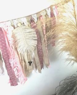 Mini rideau de frange bois de rose_