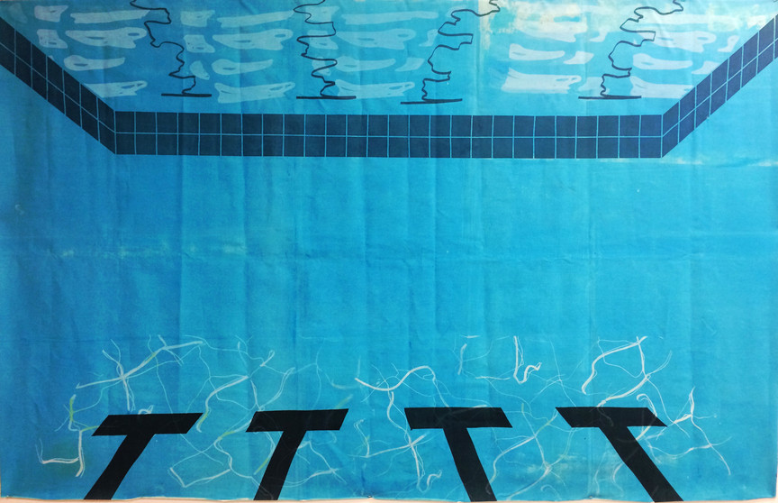 Pool 2 (large scale screenprint on canvas, 2015)