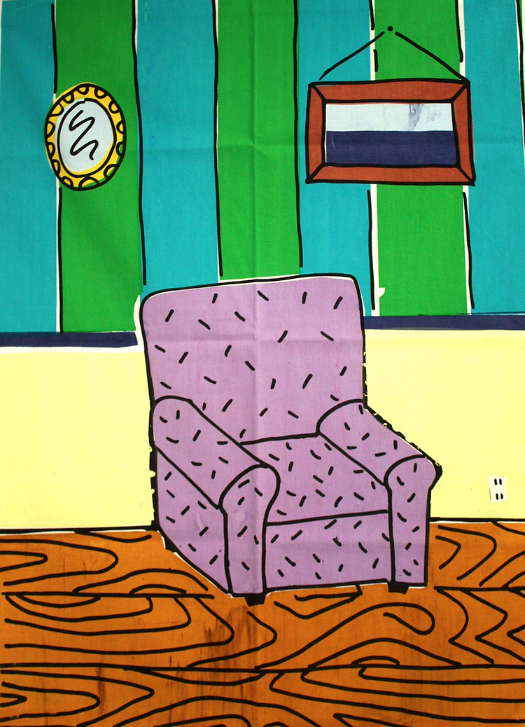 Chair print (screenprint on fabric, 2014)