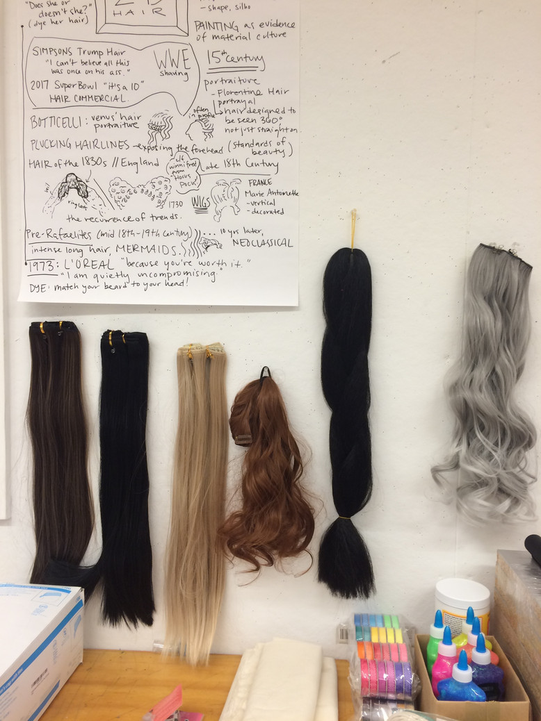 Conversation map and false hair from HAIR! HAIR! HAIR!, a course taught at Ox-Bow School of Art and Artist Residency, Saugatuck, Michigan, 2017