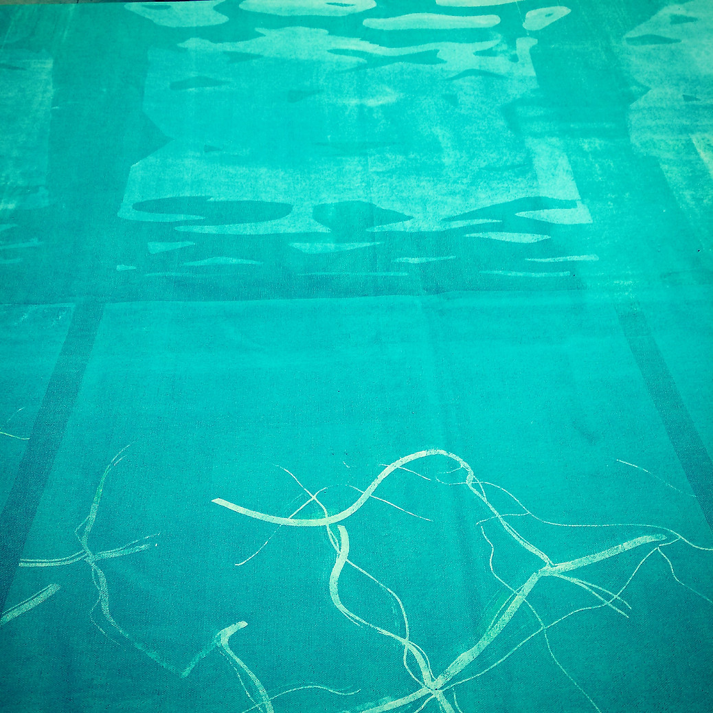 detail, Pool 3 (large scale screenprint on canvas, 2015)