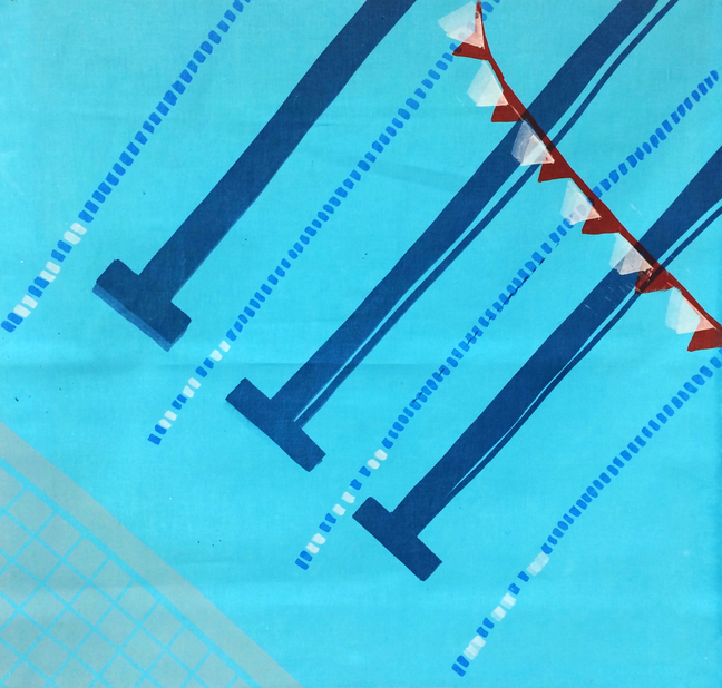 SmallPool2Small Pool series #2 (screenprint on fabric, 2014)