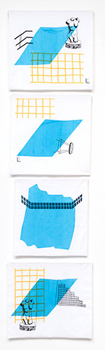 Four prints (screenprints on fabric, SAIC MFA Show, 2015)