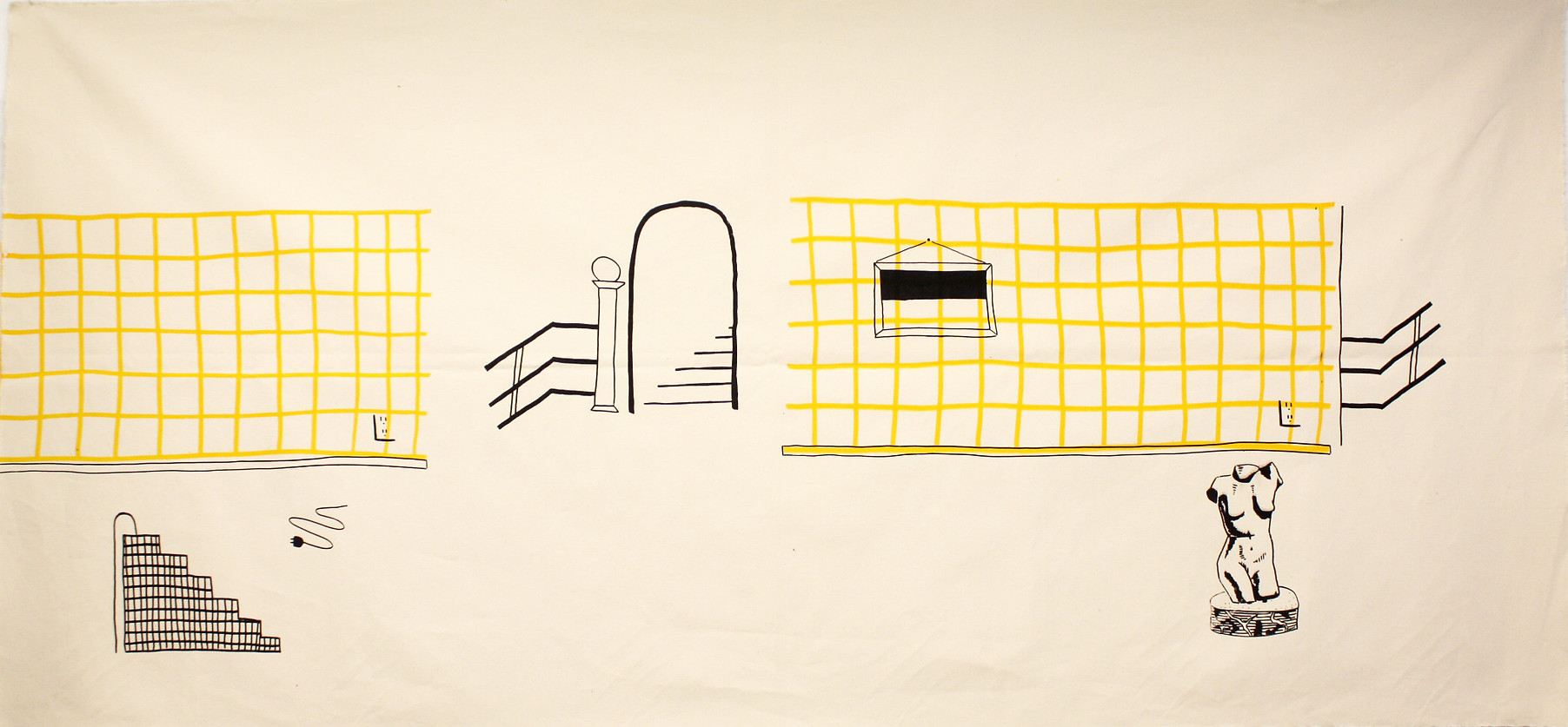 Continuous Interior (screenprint on fabric, 2015)