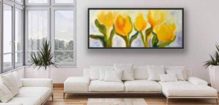 yellow tulips painting in a room