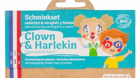 3er Set Bio Schminkfarben Clown und Harlekin