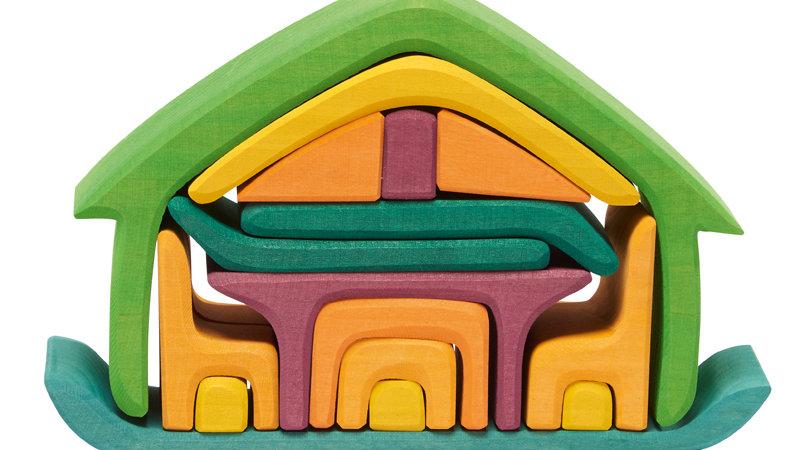 Möbelhaus gelb/grün