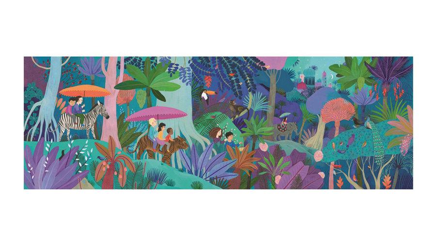 Puzzle lang Dschungel und Kinder