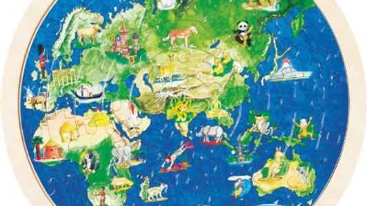 Holzpuzzle Welt