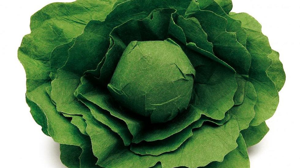Salatkopf aus Papier und Holz