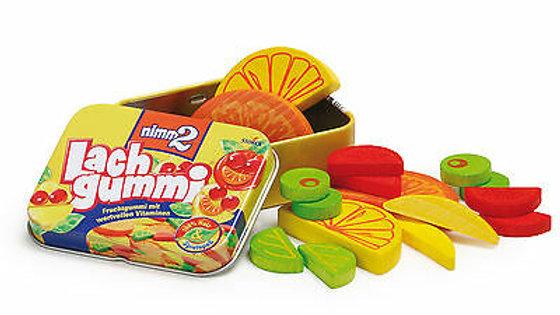 Lach Gummi Set aus Holz in Blechdose