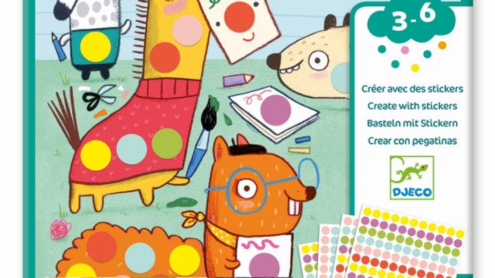 Sticker Bilder Punkte und Tiere