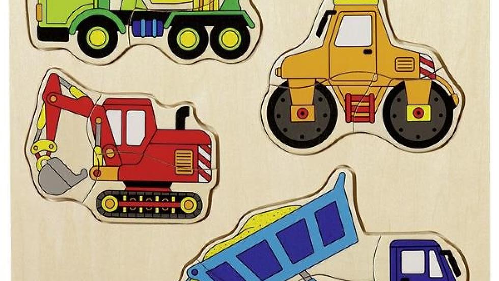Holzpuzzle Baufahrzeuge