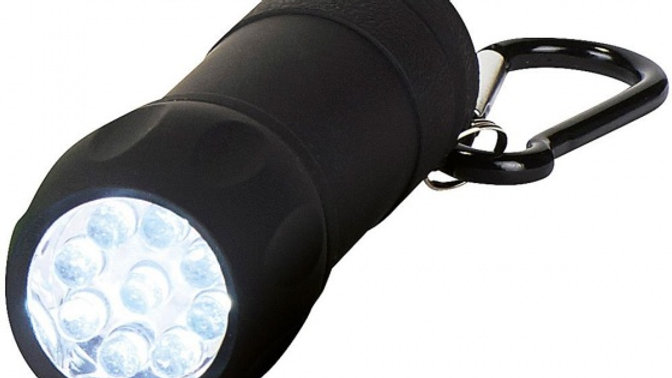 Taschenlampe mit Karabiner, schwarz