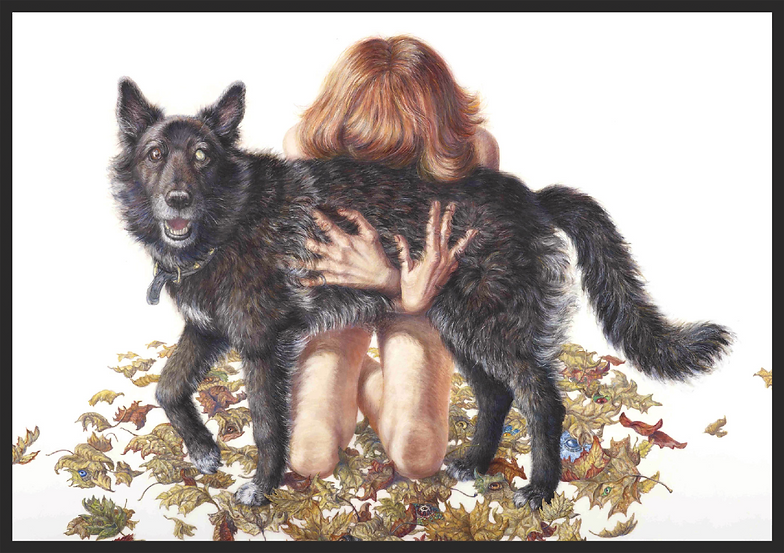 A mixed media self portrait of Riva and her dog, Zora. Riva is in the nude kneeling behind Zora's body, burying her face into Zora's dark fur, and wrapping her hands tightly around Zora in a strong embrace. Zora, standing on all fours, turns and looks directly at the viewer. One of her eyes is brown and the other is a cloudy white. Dry autumn leaves are scattered around them on the ground with various eyeballs hiding underneath. The eyes belong to those of endangered species. Riva has medium-length red hair. The background is pure white.