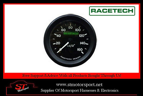 RaceTech Mechanical Oil Pressure Gauge 52MM 0-160PSI 1/8 BSP