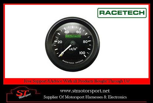 RaceTech Mechanical Oil Pressure Gauge 52MM 0-100PSI 1/8 BSP NBL