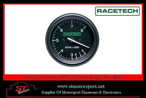 RaceTech Tachometer Electrical Gauge 80mm 0-8000RPM Without Shift Light