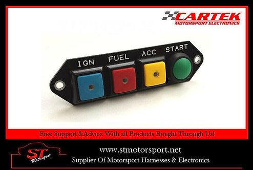 Cartek Power Distribution Module Switch Panel 4W (Multi Coloured & Start Marked)