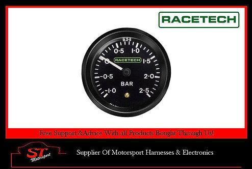 Racetech Mechanical Turbo Boost Pressure Gauge - Black Dial Face