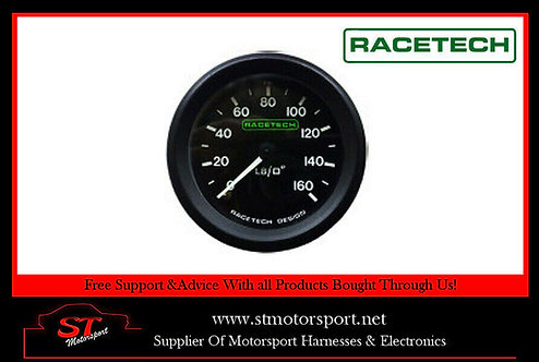 RaceTech Mechanical Oil Pressure 0-160 PSI -3 Aeroquip Fitting LUMINATED