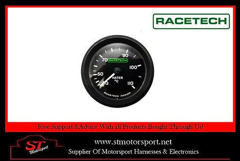 Racetech Mechanical Water Temperature Gauge 52mm 4FT Long Capillary Luminated