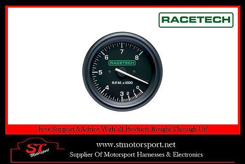 RaceTech 80mm Tachometer Electrical Gauge 0-8000RPM With Shift Light