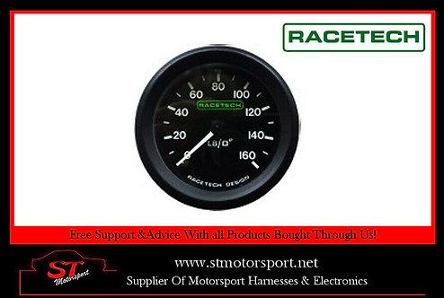 RaceTech Mechanical Oil Pressure Gauge 0-160 PSI -1/8BSP Nipple Thread