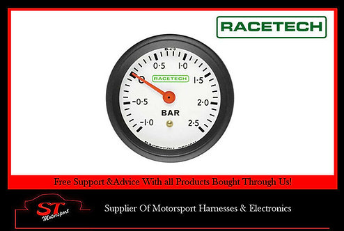 Racetech Mechanical Turbo Boost Pressure Gauge - White Dial Face