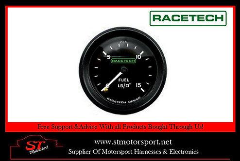 Racetech Mechanical Fuel Pressure Gauge 52mm 0-15 PSI 1/8 BSP - LUMINATED