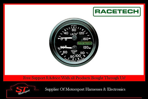 Racetech Oil Pressure/Water Temperature Dual Mechanical Gauge 9FT Long Capillary