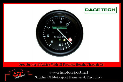 RaceTech Tachometer Electrical Gauge 80mm 0-12000RPM with shift lights