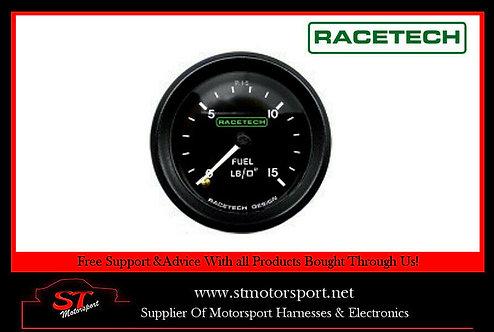 Racetech Mechanical Fuel Pressure Gauge 52mm 0-15PSI 1/8 BSP