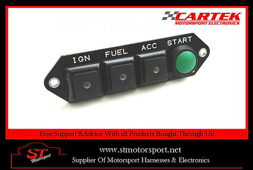 Cartek Power Distribution Module Switch Panel 4W (Black & Start Marked)