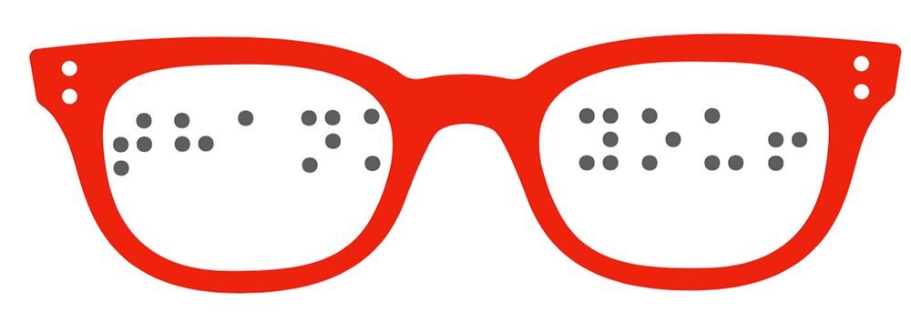 """image of red glasses with the words """"thank you"""" in braille in the lenses."""