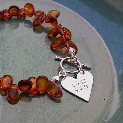 Personalised Silver & Amber Bracelet