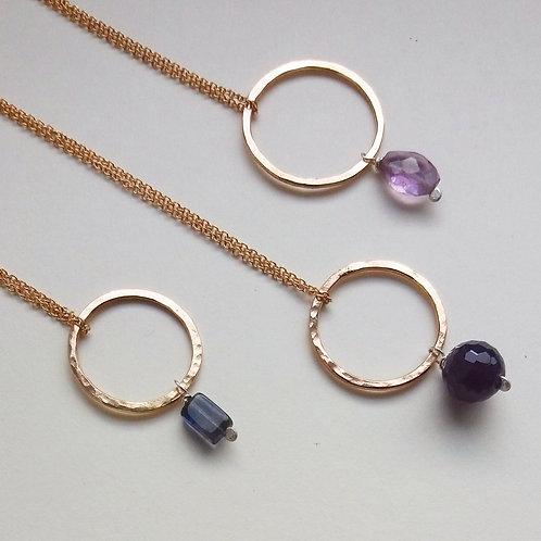 Gold Filled gemstone necklace -Mwclis Glain ac Aur 'Gold Filled'