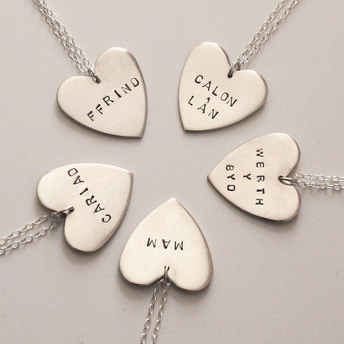 Silver Heart Necklace - Mwclis Calon Arian