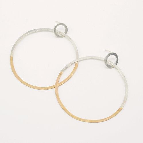 Silver and Gold Hoop Earrings - Clustdlysau Cylch Aur ac Arian